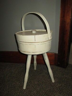 Vintage 3 Leg Wood Firkin Barrel Plant Stand Holder Planter Sewing Basket WHITE