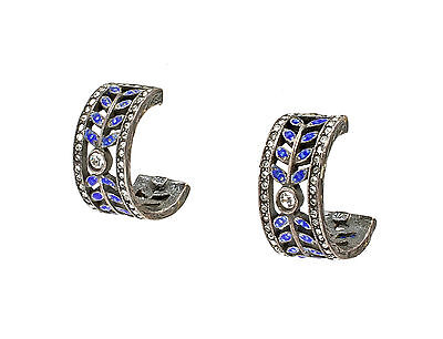 925 Silver enamelled floral Stud Earrings with Swarovski Stones blue a8-01505