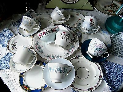 Lovely Floral Mixed Mismatched China TeaSet 21 Piece Blues