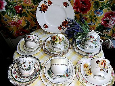 Gorgeous Floral China Mismatched TeaSet 19 Piece Yellows & Greens + Tablecloth