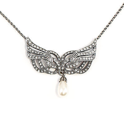 925 Silver Art Nouveau Necklace with Swarovski Stones and Bead Wings a8-01676