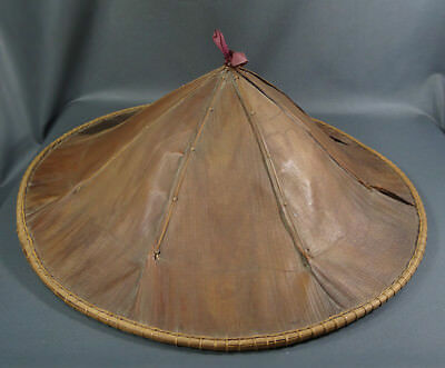 "24"" Vintage Antique Chinese Asian Vietnamese Coolie Straw Bamboo Hat Conical"