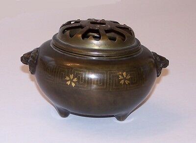 Antique Chinese Inlaid Censer Silver Gold Lion Mask 19Th Century