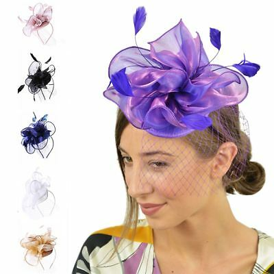 Navy Feather Net Hat Head Band Fascinator Wedding Ladies Day Race Royal Ascot