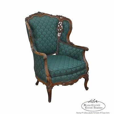 Antique Carved Rococo Style Wing Chair