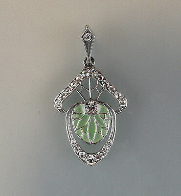 925 Silver Floral Pendant TRANS-lucid Email green enameled a8-01224
