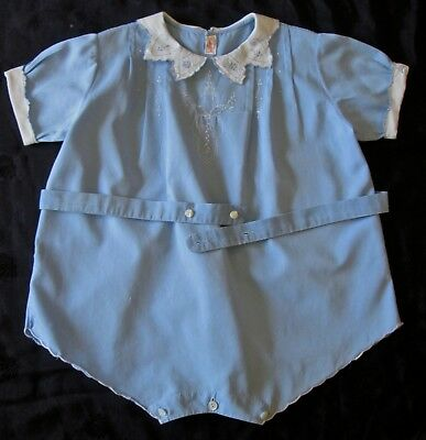 older vintage fine quality toddler one piece w embroidery+drawnwork blue/white