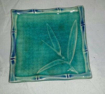 Japanese Sushi Plate: Vintage Asian Bread Plate Bamboo Design FREE SHIPPING