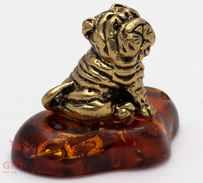 Solid Brass Amber Figurine of Chinese Shar-Pei Dog IronWork