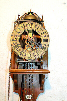 Old & Beautiful Skeleton Wall Clock Bell Clock** Tempus Fugit *** with Shelf