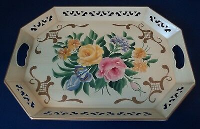 """Vintage PILGRIM Hand Painted Tole Tray Off-Yellow 18.5"""" X 13.5"""" w/ Orig Jacket"""