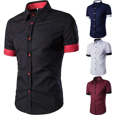 Luxury Mens Button Casual Shirts Slim Fit Short Sleeve Dress Shirt T-shirt Tops