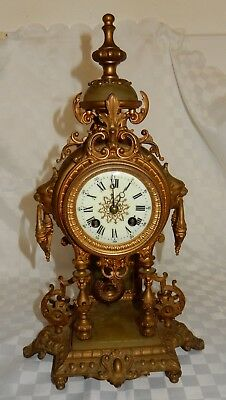 Vintage Gilt Spelter 8 Day Striking Mantle Clock with Cream Enamelled Dial
