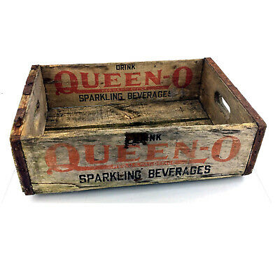 Vintage Queen O Wood Crate Soda Pop 1963 Wooden Advertising Box Buffalo NY