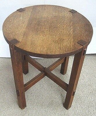 Antique Als ik kan Stickley Small Round Oak Table Gustav Labeled From 1902-1903
