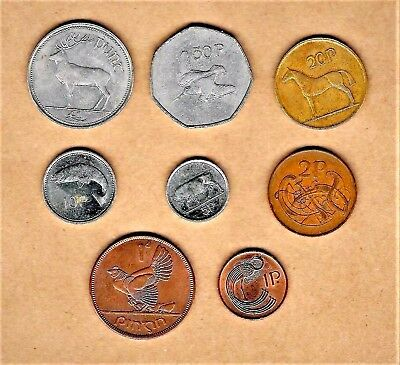 Ireland (Eire), 8 coin lot w/ #1 (Punt) coin thru 1 Pence coin