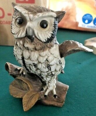 """LOOK-Set of 2 HOMCO Home Interiors #1114 Woodland Ceramic Pair of Owls  5"""" Tall"""