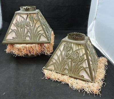 Pair of Arts and Crafts Copper Overlay Shades-Irises-5 1/2 by 7 1/2""
