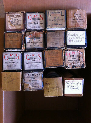 Lot of 16 Player Piano Rolls, QRS, SUPERTONE, HARMONY