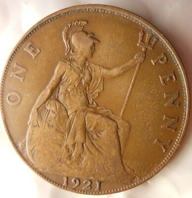 1921 GREAT BRITAIN PENNY - Excellent Collectible - FREE SHIP - Britain Bin H