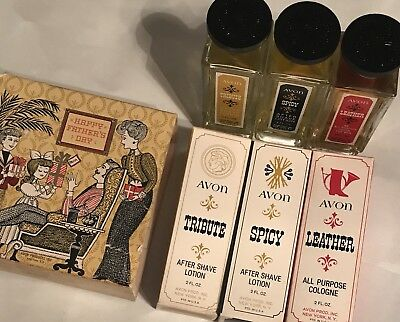 VINTAGE 1960's AVON FATHERS DAY AFTER SHAVE & Cologne Leather, Spicy & Tribute