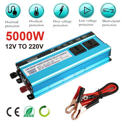 Solar Power Inverter 5000W LED Display DC 12V To AC 220V Sine Wave Converter Lot