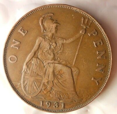 1931 GREAT BRITAIN PENNY - Excellent Collectible - FREE SHIP - Britain Bin H