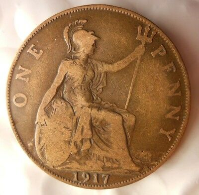 1917 GREAT BRITAIN PENNY - Excellent Collectible - FREE SHIP - Britain Bin H