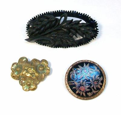 #31 Old Vintage LOT of THREE (3) PINS - Mourning Brooch, Perfume Flower Lot