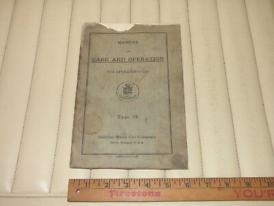 1920-21 CADILLAC Owners Manual of Car & Operation-TYPE 59 - Original 4th Edition