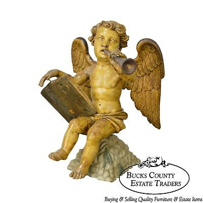 Italian 19th Century Antique Carved Wood Polychrome Angel Statue