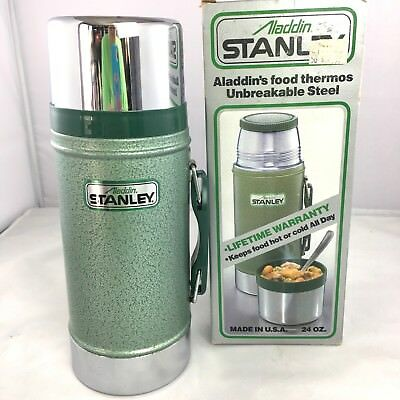 VTG Aladdin Stanley 24oz thermos No. 1350B with box green wide mouth opening