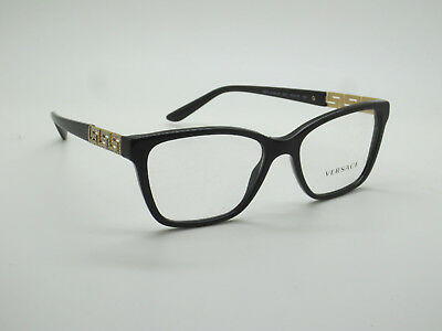 db13dac8252 NEW Authentic VERSACE Mod. 3192-B GB1 Shiny Black 52mm RX Eyeglasses