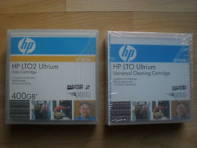 14 x HP LTO2 Ultrium Data Cartridge 400GB plus gebr.,1 x neue Reinigungskassette