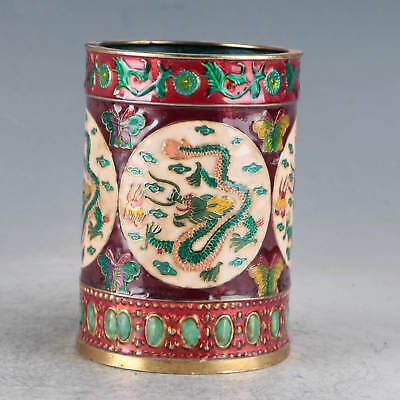 Chinese  Cloisonne Hand-made Dragon Brush Pots Made During The Qianlong Period