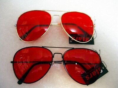Classic Deep Red Aviator Sunglasses With Metal Frame Black or Gold M/F