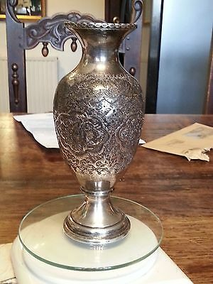 Antique Islamic Persian Isfahan Solid Silver Vase