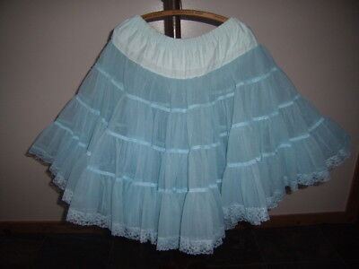 Sky Blue Full Petticoat Square Line Dance Rockabilly Western Excellent Condition