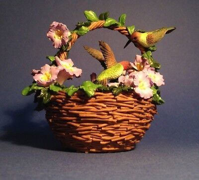 Mini Basket w Hummingbird Pair and Violets Porcelain Figurine Easter