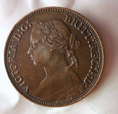 1879 GREAT BRITAIN FARTHING - HIGH GRADE - AU - Excellent Scarce Coin - Lot #M12