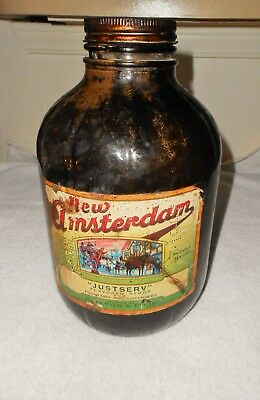 Old New Amsterdam Soda Fountain JustServ Syrup Heisey Glass Gallon Jar Linden,NJ