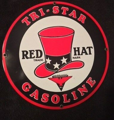 Red Hat - Tri-State Gasoline - Ande Rooney Reproduction Porclian Sign