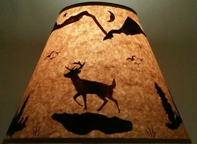 Deer Lamp Shade Rustic Parchment Paper 12 Clip On Lodge Log Cabin Hunter Decor