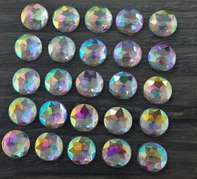 12mm Star Faceted AB Cabochons 10pc - Flat Back DIY Earring Cabs FBC223