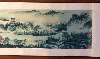 """WATERWAY SCROLL Painting Wall Art Chinese, 96"""" X 10.5"""", Collectable"""