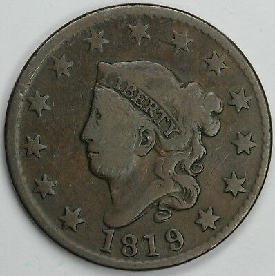 1819 1c Large Date Coronet or Matron Head Large Cent UNSLABBED