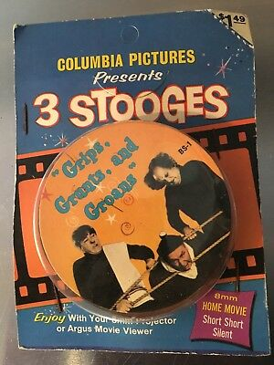 "THE 3 THREE STOOGES ""Grips Grunts Groans"" VINTAGE 8MM FILM Short SILENT MOVIE"