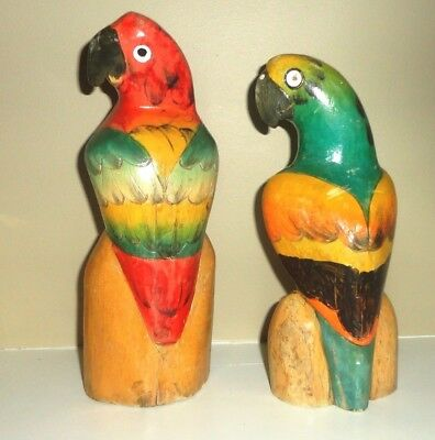 """Vintage Pair of Hand Carved Hand-Painted Balsa Wood Parrots, 8"""" and 8-1/2"""" tall"""