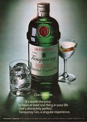 1979 Tanqueray Gin classic green bottle photo vintage magazine print cocktail ad