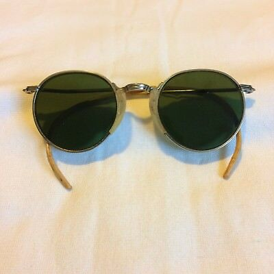 Vintage Cesco Green Lens Safety Goggles/Glasses Steampunk Motorcycle
